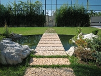 Floating walkway over pond